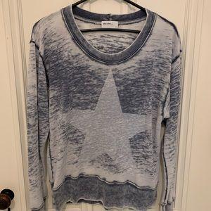 Allen Allen distressed  purple star sweatshirt S